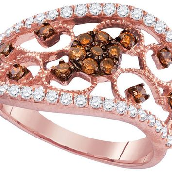 10kt Rose Gold Womens Round Cognac-brown Colored Diamond Filigree Band Ring 7/8 Cttw