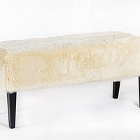 Faux Fur Covered Wood Bench