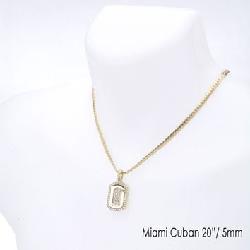 "Jewelry Kay style Men's Iced Out Dog Tag Pendant 20"" / 24""  Miami Cuban Chain Necklace MCP 1131 G"