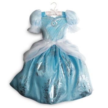 Original Disney Store Cinderella Blue Dress Costume For Kids Girls Size: 7/8