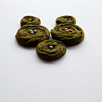 Green Fabric Roses Handmade Appliques Embellishments(5 pcs)