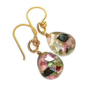 Rainbow Tourmaline Earrings Tourmaline Doublet Earrings Tourmaline Jewelry Fall Finds Trending Jewelry Bright Jewelry Mohave Tourmaline