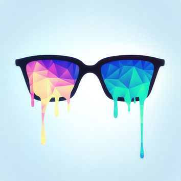 Psychedelic Nerd Glasses with Melting LSD/Trippy Color Triangles Art Print by Badbugs_art