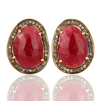 Natural Ruby Pave Set Diamond 14K Solid Yellow Gold Cufflinks Mens Gift Jewelry