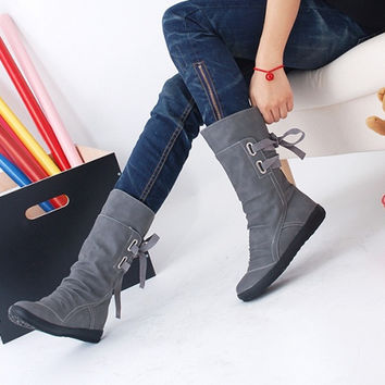 Hot Sale ! High Quality Suede Leather Women Shoes Lace Up Mid-Calf Boots Flat Heels Round Toes Warm Winter Short Boots YZ