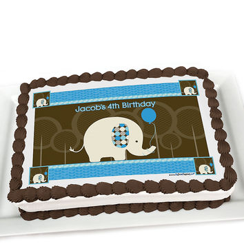 Boy Elephant - Personalized Birthday Party Cake Toppers