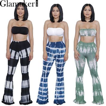 Glamaker Summer two piece gradient print flare pants women jumpsuit Off shoulder casual jumpsuit romper Plus size sexy jumpsuit