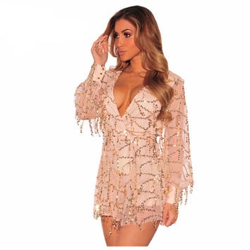 Party Jumpsuit Women Champagne Flowing Sequins Long Sleeves Romper