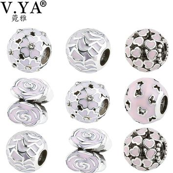 V YA Charming Pink DIY Beads Charms fit for Pandora Necklaces Bracelets Women's Men's Loose Beads Fashion Christmas' Jewelry