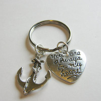 1 Anchor You Are Always In My Heart Keychain Best Friends BFF Sisters Couples