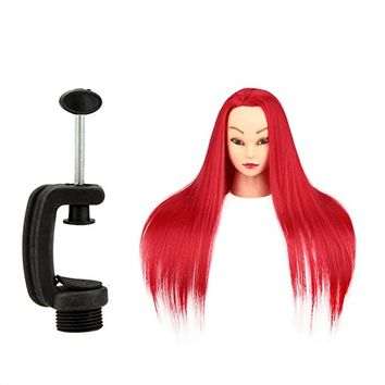 "Anself 27"" Mannequin Training Head Dummy Head Salon Model Long Hair with Clamp (Multi Color)"