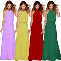 Womens Chiffon Sleeveless Prom Evening Evening Party Long Maxi Dress Long Dress Summer Chiffon Womens Casual Party Dresses