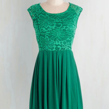 Mid-length Cap Sleeves A-line Bold to Behold Dress by ModCloth