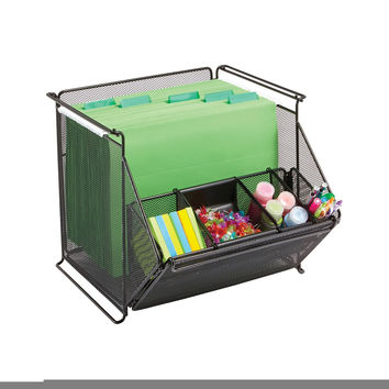 Safco Home Office Products Onyx Mesh Stackable Storage Bins, Black-Bl