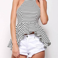 White Striped Cami Top with Flounced Hem