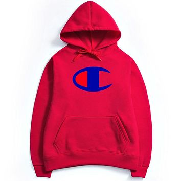 Champion Autumn and winter men's Hooded Sweater Red