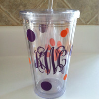 SaLe monogrammed straw cup GREAT gift idea