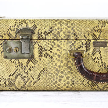 Vintage Suitcase Suitcase Faux Snakeskin Suitcase 1940's Suitcase Old Suitcase Luggage