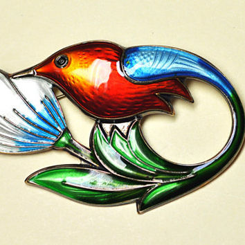 Vintage DAVID-ANDERSEN Hummingbird Brooch,  Norway Sterling, 925, Multicolor Guilloche Enamel, Breathtaking! #A854