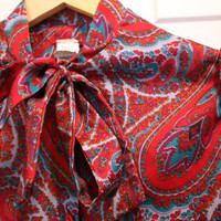 Vintage 1970s Extra Small - Medium Paisley Red Purple Turquoise Blue Gold Tie Collar Union Made Blouse Button Up Shirt