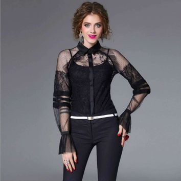 Women's Lace Blouses Perspective Ruffles Summer Shirts Flare Sleeves Female Top Shirt