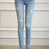 Stylish Mid-Waisted Hole and Pocket Design Jeans For Women