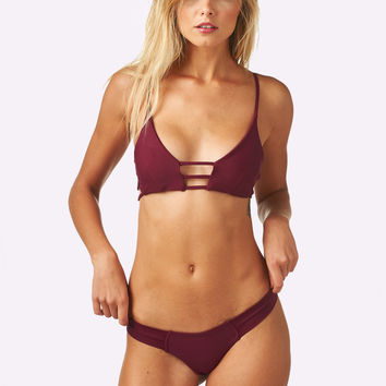 Montce Swim | Cage Top x Uno Bottom Bikini Separates (Maroon)