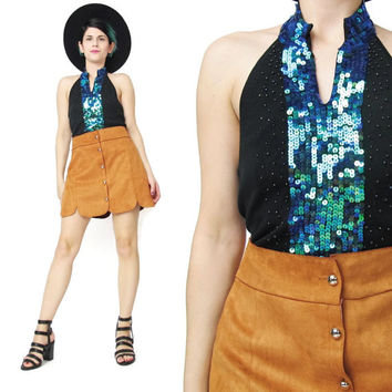 1990s Sequin Halter Top Black Sequin Top Blue Green Embellished Beaded Top Fancy Party Evening Top Sexy Mermaid Stretchy Spandex Tank (XS/S)