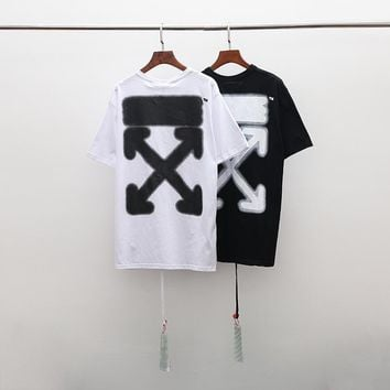 HCXX 19July 470 Off White New European and American street fashion double arrow printed short-sleeved T-shirt loose version