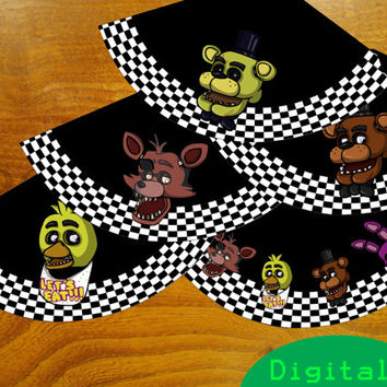 PRINTABLE DIY Five night's at freddy's / FNAF party hats!  Big pack! Perfect for birthdays! 5 designs! Pdf included!