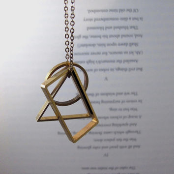 Vertex - Long Geometric Necklace with Brass Triangle, Circle & Rectangle Pendants