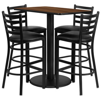 24'' x 42'' Rectangular Walnut Laminate Table Set with 4 Ladder Back Metal Bar Stools - Black Vinyl Seat [RSRB1020-GG]