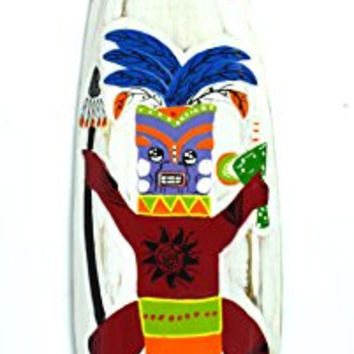 Hand Carved TIKI BAR GUY Surfboard Wooden Wall Hanging Art Sign