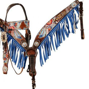 Showman® Hand Painted Dream Catcher browband headstall and breast collar set with fringe