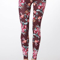 Women Sexy Floral Print High Waist Stretch Cotton Ankle Tight Leggings