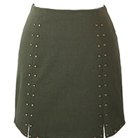 Army Green Rivet Embellished Pencil Mini Skirt