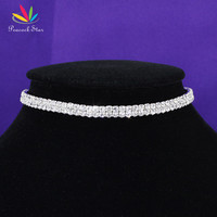 Bridal Wedding Party Prom 2 Row Stretch Rhinestone Choker Elastic Cord Elegant CC001