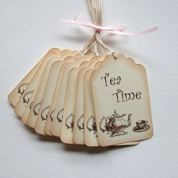 Tea Time Tags-  Tea Party -  Bridal Shower - Vintage Inspired