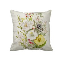 2 Sided Flower Bouquet & Vintage Script 3 Pillows