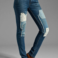 NWT FREE PEOPLE CROCHET PATCHED SKINNY HANES WASH DENIM JEANS