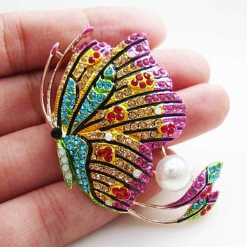 Exquisite Butterfly Woman Pearl Brooch Pin Multi-color Rhinestone Crystal Party