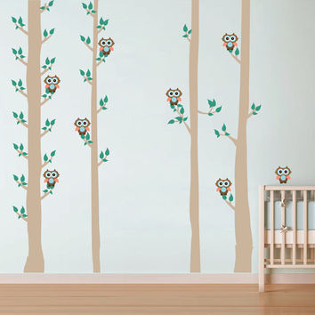 kcik1674 Full Color Wall decal bedroom children's Custom Baby Nursery tree nusery decal tree forest owl birds
