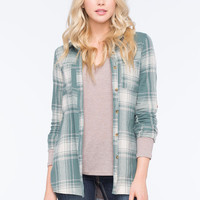 Full Tilt Boyfriend Plaid Womens Shirt Mint  In Sizes