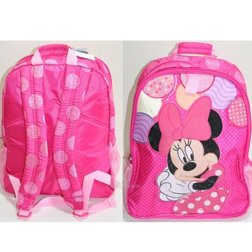 Licensed cool Princess Minnie Mouse Backpack Book Bag Tote Pink Polka Dots Disney Store NEW
