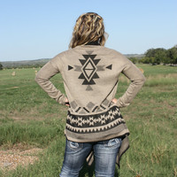 Mocha Black Aztec Tribal Cardigan Sweater