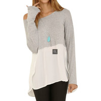 Chic  Casual Loose Stitching Blouse Grey Shirt Crew Neck Tee Comfy Tops