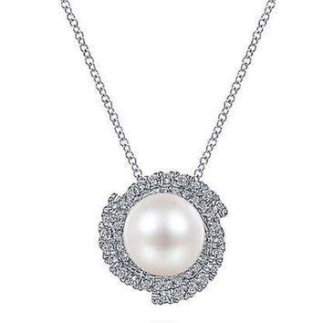 Gabriel Round Cultured Pearl Swirling Diamond Halo Pendant