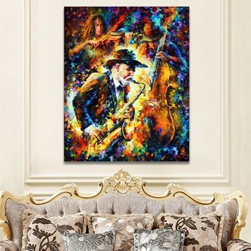 Jazz Music Saxophone Soul Musician Palette Knife Oil Painting Picture Art Printed On Canvas For Home Office Hotel Wall Decor