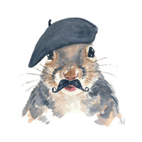Original Squirrel Watercolour Painting, French Beret, Mustache, Squirrel Art, 8x10 painting