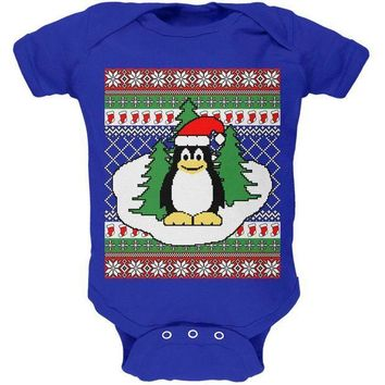 CREYCY8 Penguin on Ice Ugly Christmas Sweater Soft Baby One Piece